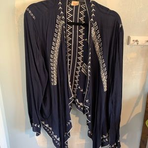 Blue and white embroidered shrug